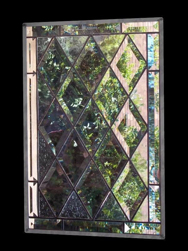 Stained Glass Window Leaded Glass Panel Diamond Bevel