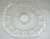 Vintage, Depression Glass, Plate, Columbia Pattern, Wheat Etching, Federal Glass Co