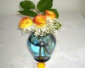 Vintage Flower Vase - Teal Blue Glass - Clearance Sale