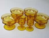 Vintage Dessert Dishes and Cordial Glasses Amber Tiffin Franciscan Kings Crown Set of 4 Compotes Plus 2 Liquor Glasses
