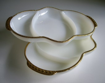 Vintage, Fire King, Divided Serving Dish, Relish Dishes, White Milk Glass, Gold Trim, Set of 2