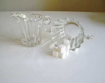 Vintage Cream and Sugar Heisey Glass Pattern 1503-1/2 or 1503.5 Crystolite
