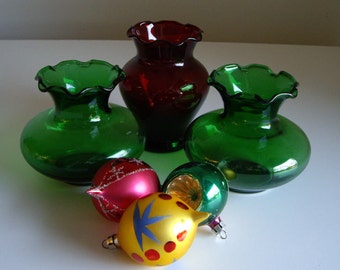 Vintage Small Vases - Anchor Hocking Royal Ruby Red and Forest Green