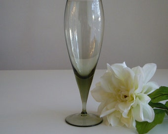 Vintage Beer Glass or Water Glass - Olive Green Mid Century Modern Glass