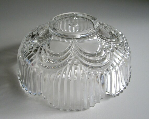 Vintage Pressed Glass Pendant Light Lamp Shade - Scalloped Edge