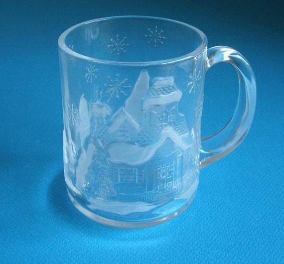 HOLD for Ryan - Glass Christmas Holiday Mug - Arcoroc France