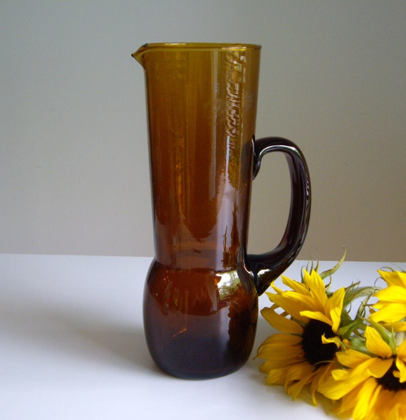 Amber Glass Pitcher - Tall Art Glass Pitcher - Great for mixed drinks - margaritas mojitos sangria