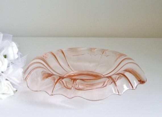 Vintage Glass, Pink, Console Bowl, Elegant Glass, Scalloped Edge, Centerpiece, Pink Wedding