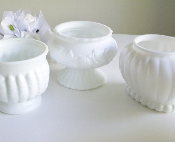 48 Hr Hold for SANDRA - Milk Glass Vases - Small Floral Arrangements - White, Set of 3 - Great Gift Idea for Weddings, Showers or Christmas