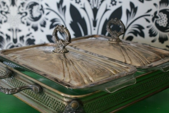 English Buffet Style Silver Server with Two Anchor Pyrex like Inserts