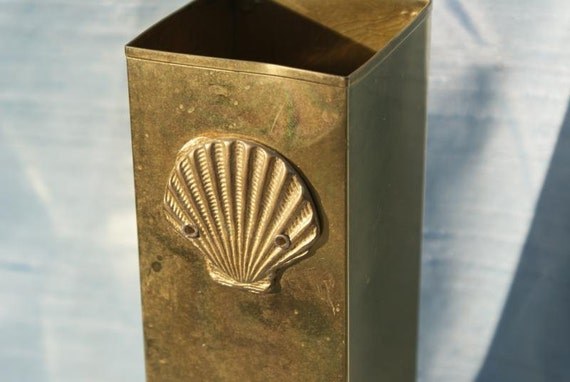 Brass Matchstick Holder Rectangular Box Ready to hang Brass Shell Detail Paintbrush holder Hobby