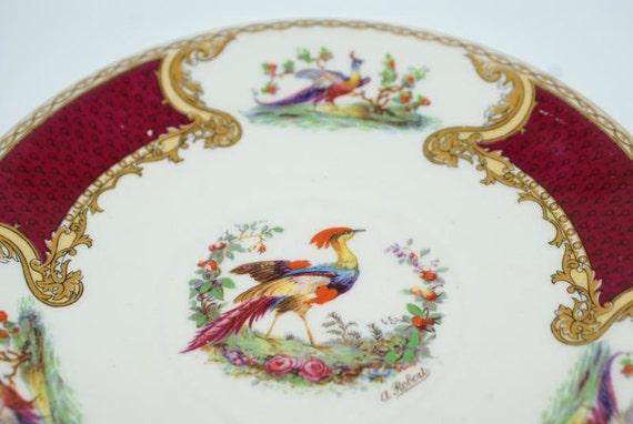 Set. Antique Myott Staffordshire Set of Two Dessert Plates in Peacock Like Chelsea Bird Design