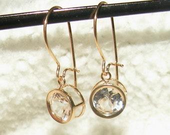 14kt- 2tcw White Sapphire Dangles Earrings