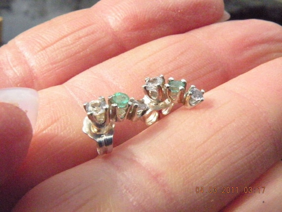 3 stone earrings with emeralds