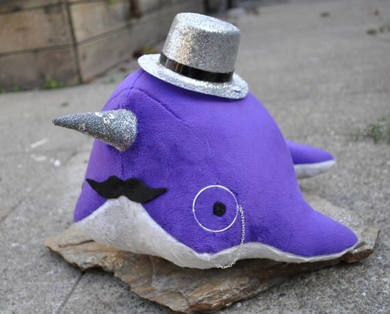 Dandy Narwhal Plush with Mustache, Monocle, and Top Hat - MADE TO ORDER - (Choose colors)