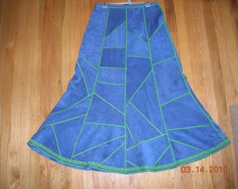 Blue patchwork skirt, bell shape skirt, suede fabric womens skirt, size M skirt, ready to ship