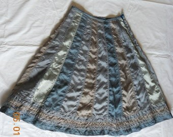 Patchwork skirt, grey, blue, beige acetate stripe patch skirt, size M, ready to ship