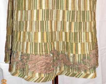 Patchwork green striped cotton skirt, size M, ready to ship