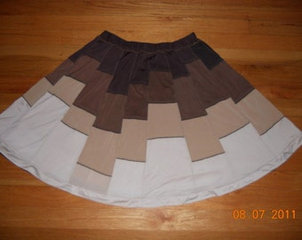 Dark and light brown, beige and cream synthetic jersey patchwork reversible skirt- size M skirt, ready to ship