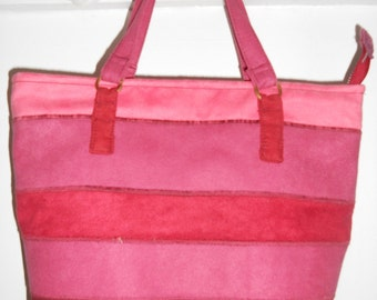Pink striped suede fabric tote, medium size tote, ready to ship