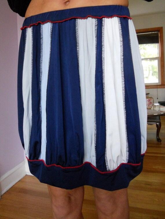 Navy, blue, white and grey jersey pumpkin shape skirt, size S barrel shape skirt, ready to ship