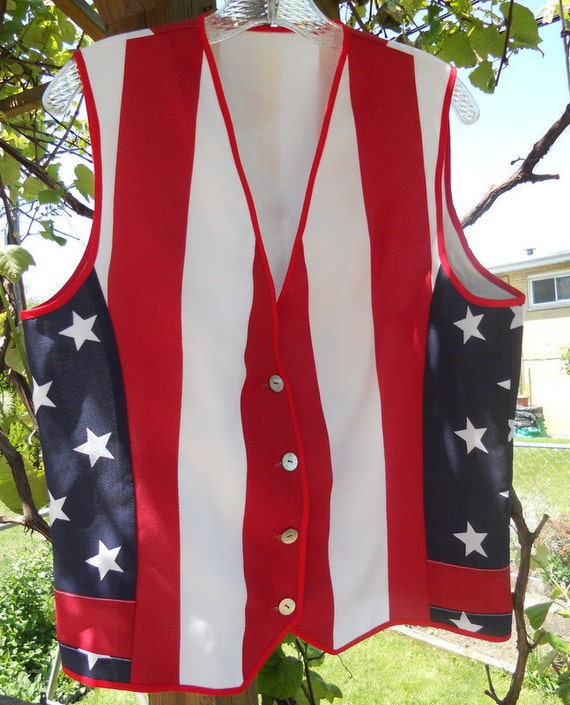 Patriotic white, red and blue vest - size M, ready to ship