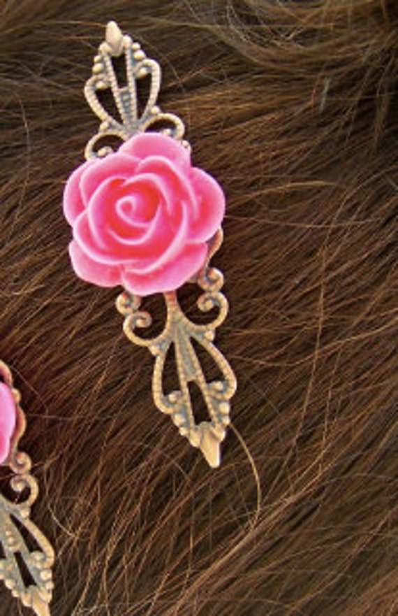 Reserved - Vintage Style Hairpin Pair - Pink Rose on Copper Filigree - Gift for Her