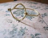 Hammered Brass Wire Bracelet