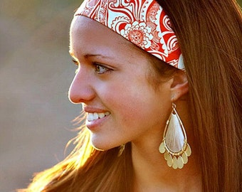 Orange Tribal Wide Yoga Hippie Boho Turban Headband, Hair Wrap