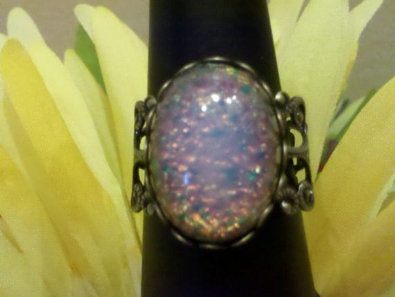 Vintage ice fire opal victorian inspired cabochon filigree ring - adjustable size