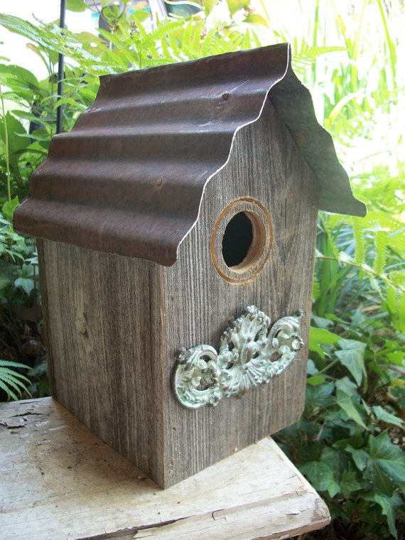 Rustic Tin Roof Birdhouse With Embellishment