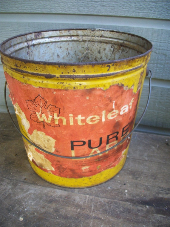 RESERVED FOR LISA - Antique yellow lard tin