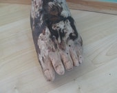 carved driftwood sculpture foot