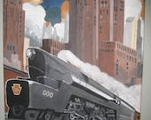 VIntage City Steam Train Hand Painted