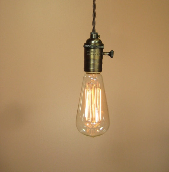 Farmhouse Style Rustic Bare Bulb Pendant Light with 16 Feet of