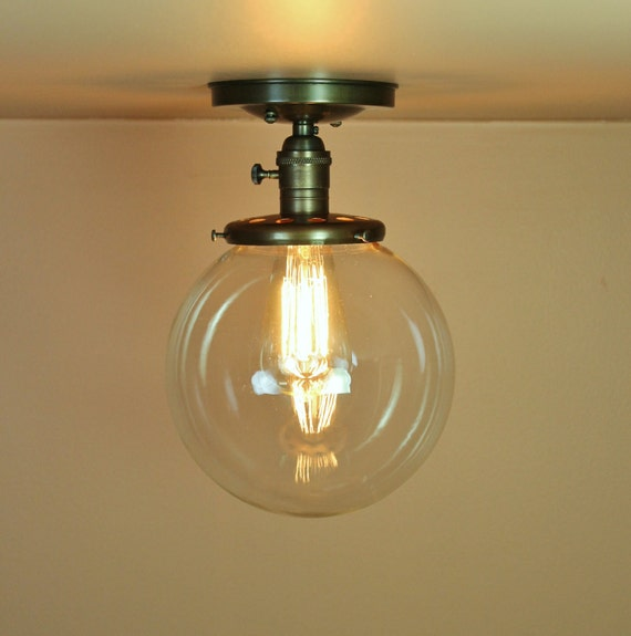 Reserved for Pilar - Semiflush Lighting - 8 inch and 6 inch Clear Glass Globes - Oil Rubbed Bronze Finish - Edison Light Bulb