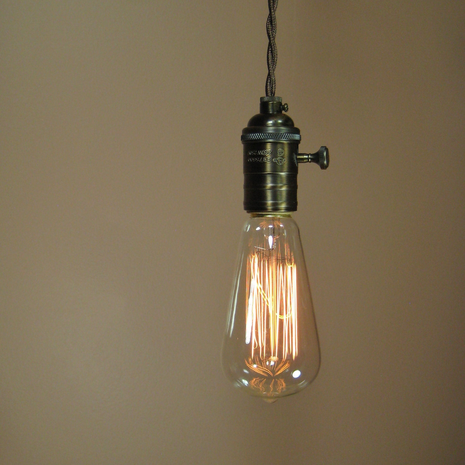 Reserved For Henry Rustic Bare Bulb Pendant Light With
