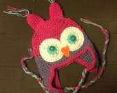 Adult Owl Hat Beanie or Earflap, Crocheted