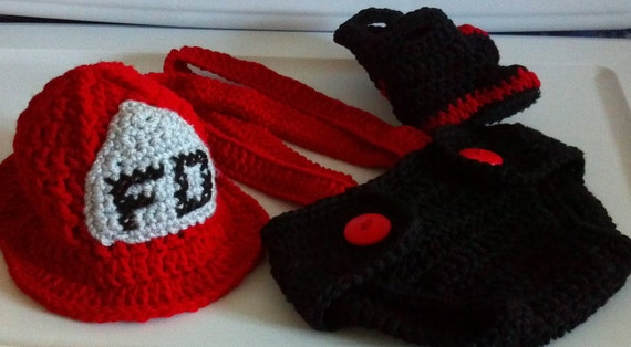 Sale! Baby Fireman outfit - Baby Firefighter Outfit - Baby Firefighter costume - Firefighter Set Crochet - Fireman prop
