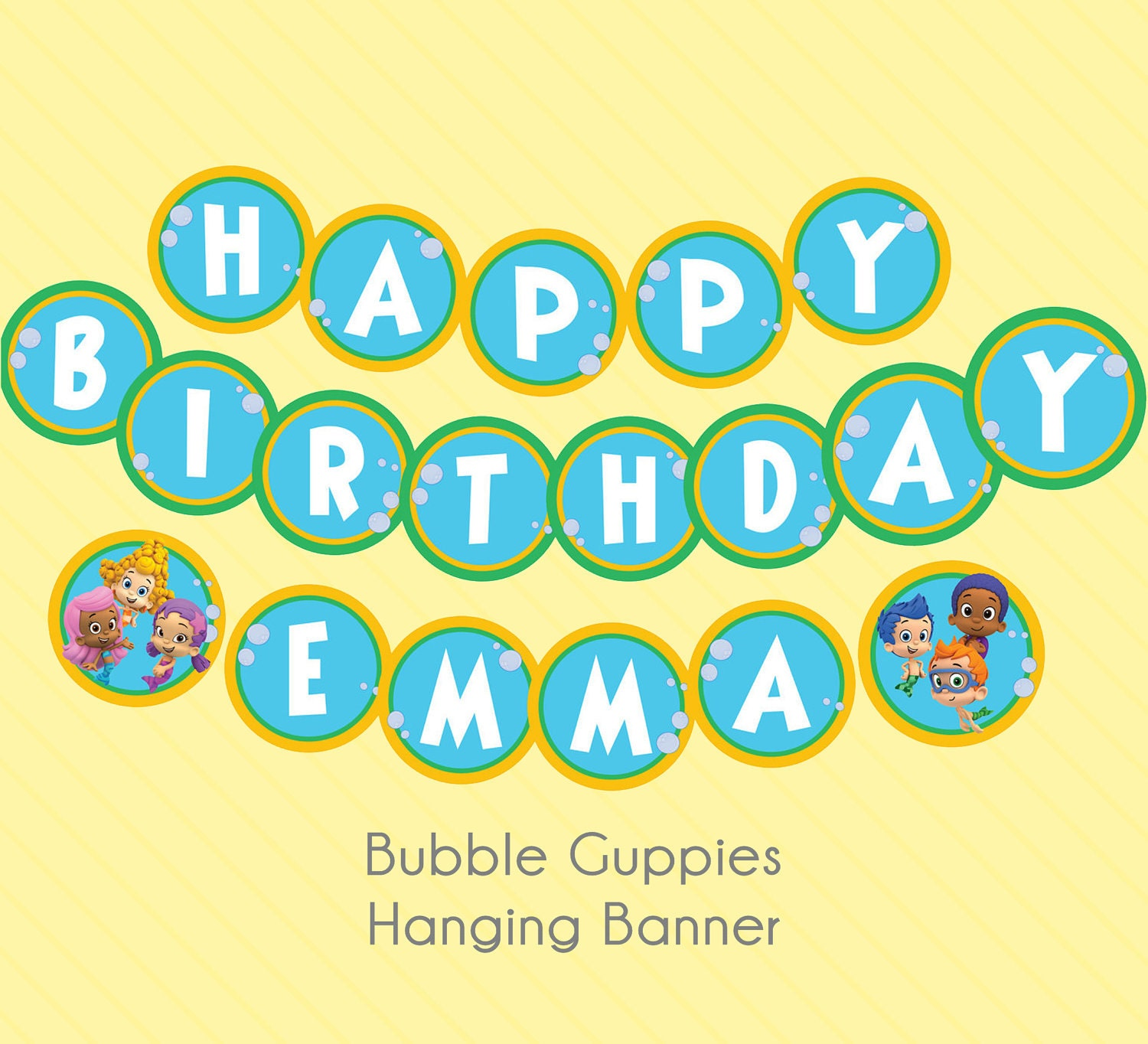 Items Similar To Bubble Guppies Hanging Birthday Banner Available In Two Styles On Etsy