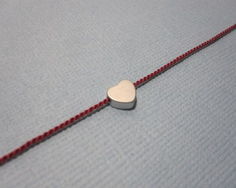 Silk String Tiny Heart Wish Bracelet available in gold and silver