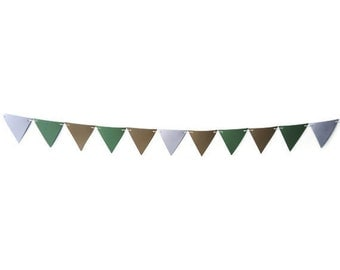 Paper Bunting Banner, Earth Tone Banner, Triangle Wall Hanging, Natural Home Decor, Neutral Colored Garland