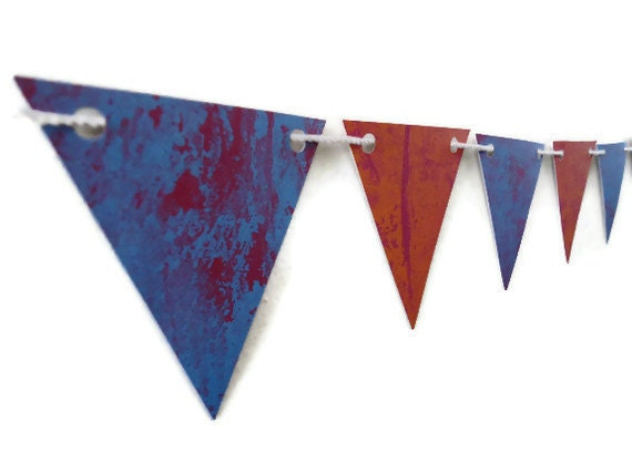 Decorative Paper Bunting, Red and Orange Banner, Purple Marbled Triangle Banner, Marbled Cardstock, Party Decoration, Photo Prop