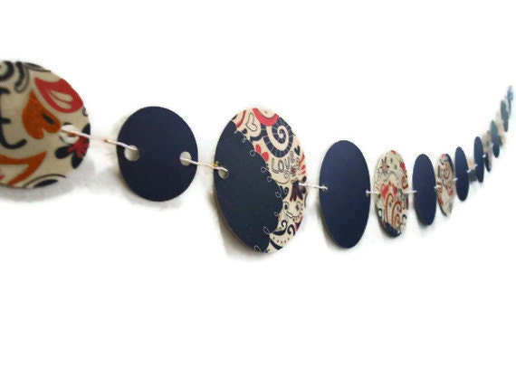 Circle Paper Banner, Coral and Navy Swirls, Cream with Flowers Garland, Party Decoration, Round Bunting Banner, Wall Hanging