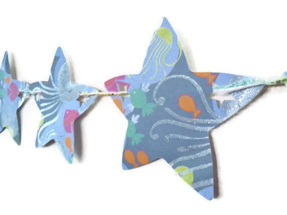 Star Paper Banner Under the Sea Oceanlife Shimmer Blue Room Party Decor