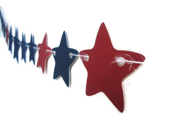 Fourth of July Banner, Star Bunting Banner, Red and Blue Party, Party Garland, Childrens Wall Hanging, Celebration Star Bunting, Streamer