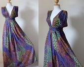 Maxi Dress Peacock print  Comfy Sexy Low V-neck long gown : Oriental Secrets Collection
