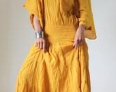 Long Kaftan Maxi Dress Tie Dye Yellow Mustard Boho Cotton Gown : Exotic Collection