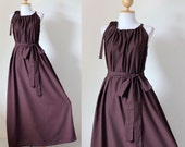 Sleeveless Chocolate Brown Dress Long Empire Waist Gown : Classy Gown Collection