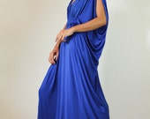 Long Blue Funky Kimono Butterfly Tube Maxi Dress: Elegant Collection